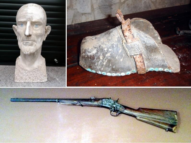 Busto de Bernardino, estribo y escopeta.
