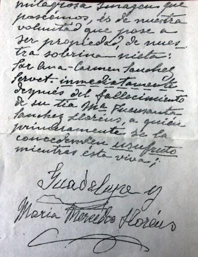 Documento que establece que la destinataria del Cristo será sor Ana Carmen.